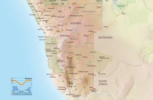 Eine Karte von Namibia - Namibia Reiseinfos